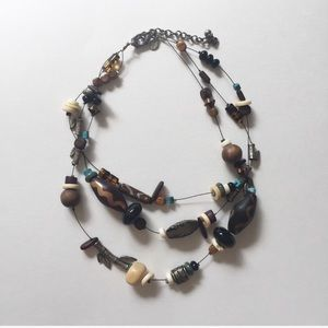 Chico's Layered Beaded Tribal Necklace